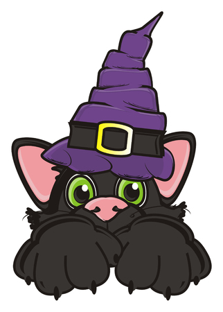 october 31: black cat in witchs hat Stock Photo