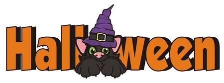 october 31: word Halloween with black cat in hat