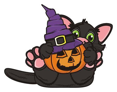 october 31: black kitten hold a pumpkin in hat