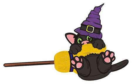 october 31: black cat in hat fly on the broom