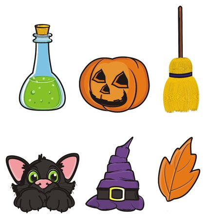 31: Halloweens elements stand in two rows Stock Photo