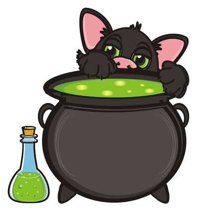 stick out: snout of black cat stick out from the pot of poison and bottle of poison