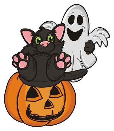 31: black cat lying top on the pumpkin and hold a ghost
