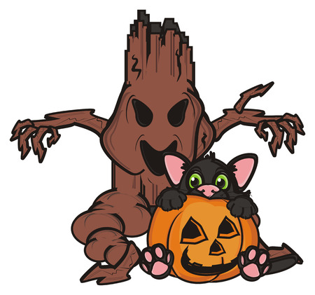 look out: evil tree with black cat in pumpkin