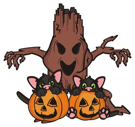 look out: two black cats sits in pumkins next to the evil tree Stock Photo