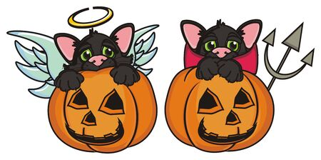 october 31: angel cat and devil cat sits in pumpkin Stock Photo