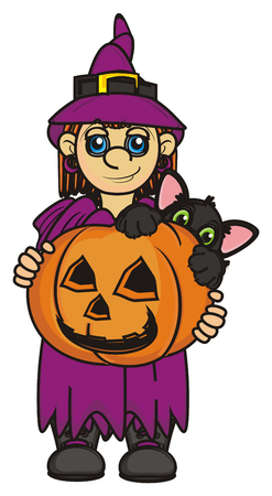 31: witch hold a pumpkin with cat