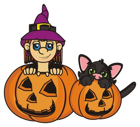 stick out: witch and cat stick out from the pumpkins
