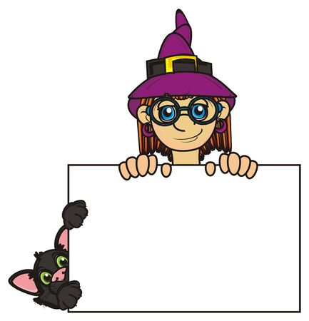 stick out: cat and witch stick out from the blank paper Stock Photo