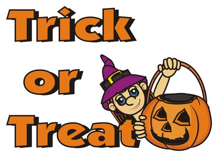 empty basket: inscription trick or treat and witch with an empty basket of pumpkin