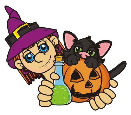 october 31: witch hold in her hands a bottle with poison and black cat Stock Photo