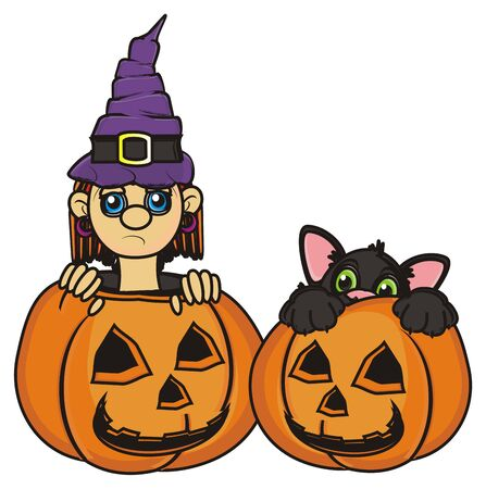 31: sad witch sit in pumpkin next to the black cat in pumkin