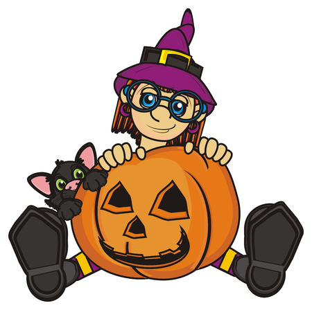 stick out: witch and black cat peek up fron the pumpkin Stock Photo