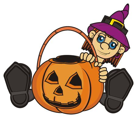 empty basket: witch hold an empty basket of pumpkin Stock Photo