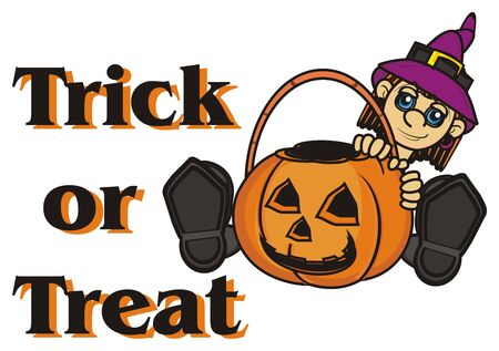 empty basket: inscription trick or trear with witch with an empty basket of pumpkin Stock Photo