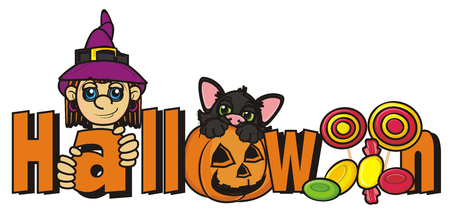 october 31: word halloween with witch, black cat and many candy