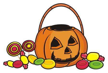 empty basket: an empty basket of pumpkin aroun a lot of candy