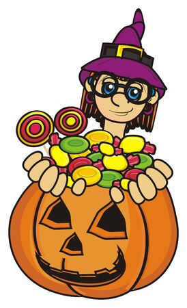 october 31: witch sit in pumpkin and hold a lot of candy