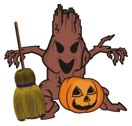 broomstick: evil tree with pumpkin and broomstick