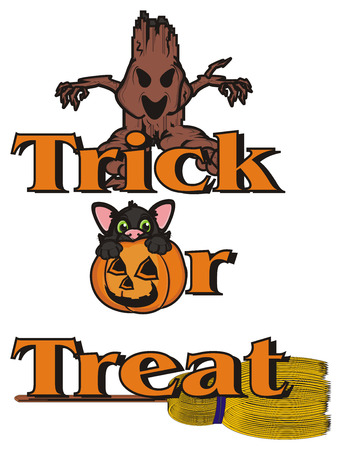 october 31: inscription trick or treat with evil tree, broom and black cat