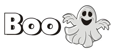 boo: word Boo with gray ghost Stock Photo