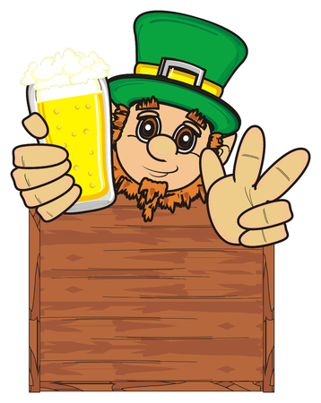St. Patrick peek up from the clean wooden board hold a glass of beer and show gesture victiry