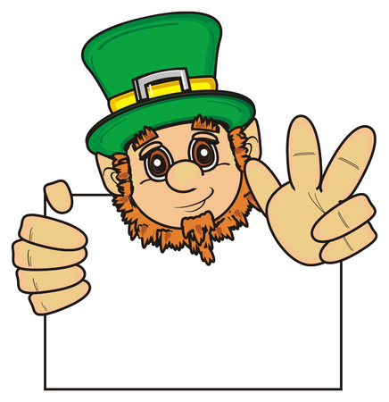 stick out: St. Patrick head peek up from the clean paper and show gesture peace