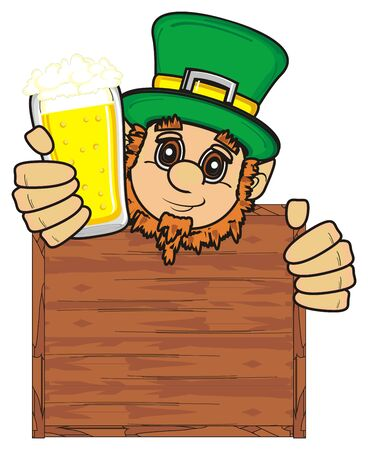 stick out: St. Patrick face stick out from clean board and hold beer