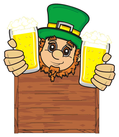 17 march: St. Patrick stick uot fron clean board and hold in his hands two glasses of beer