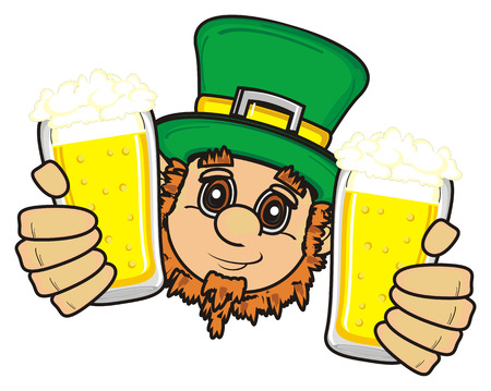 clover face: St. Patrick hold two glasses of beer Stock Photo