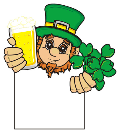 stick out: St. Patrick peek up from clean plate and hold beer and clover