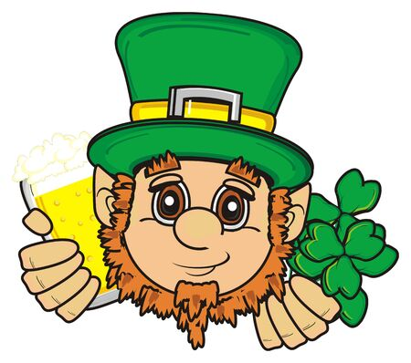 calendar day: St. Patrick hold in his hands beer and clover