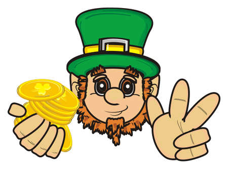 17 of march: St. Patrick hold coins and show gesture peace
