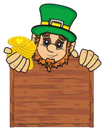 clover face: St. Patrick peek up from the clean wooden plate and hold coins in his hands