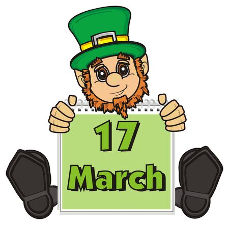 St. Patrick sit and stick out fron calendar with date 17 march Stock Photo
