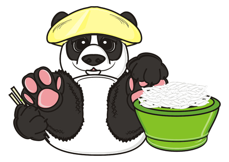 panda in hat hold a rice and sticks