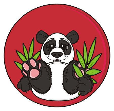 red sun: panda hold a bamboo next to the big red sun
