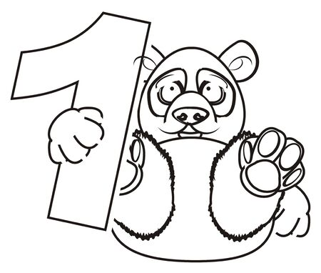 one panda: coloring panda hold a number one