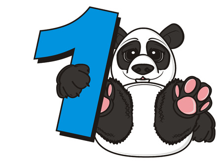 one panda: panda hold a number one
