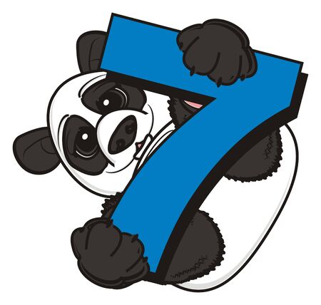 panda hold a number seven Stock Photo