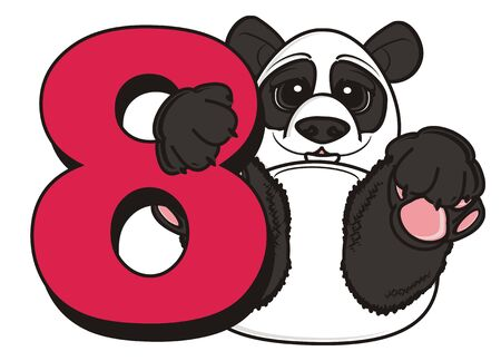 number eight: panda hold a number eight