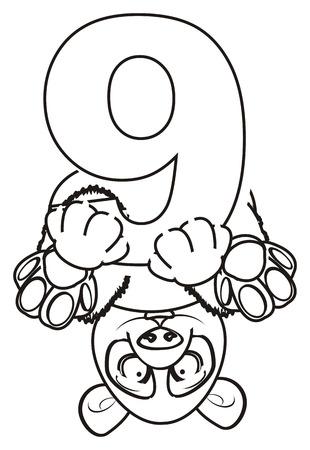 lie down: coloring panda sit upside down on the number nine