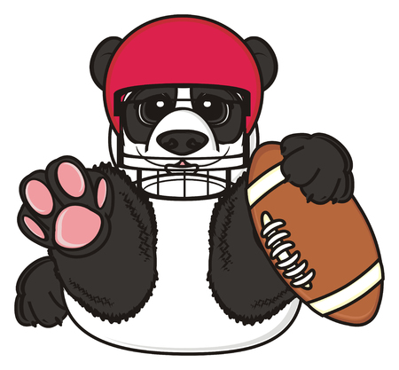 hold: panda in helmet hold a ball Stock Photo