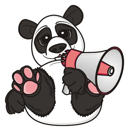 hold: panda hold a megaphone