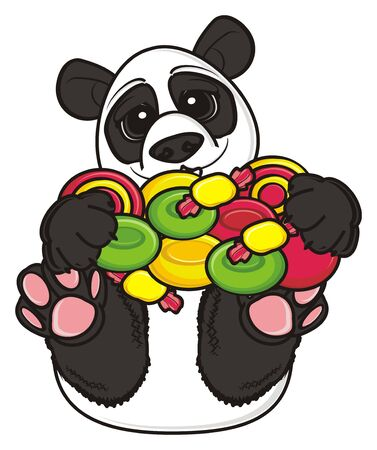 hold: panda lying on his back and hold a sweets