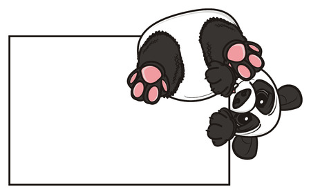 stick out: panda sit upside down on the clean paper Stock Photo