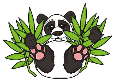 hold: panda hold in his paws a bamboo