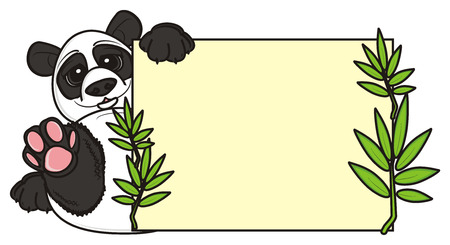 stick out: panda sit and hold clean plate with bamboo Stock Photo