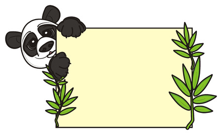 stick out: muzzle of panda peek uo from the clean paper with bamboo Stock Photo
