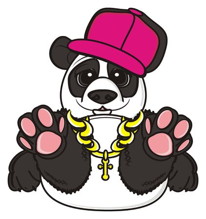 gold chain: panda in hat and gold chain